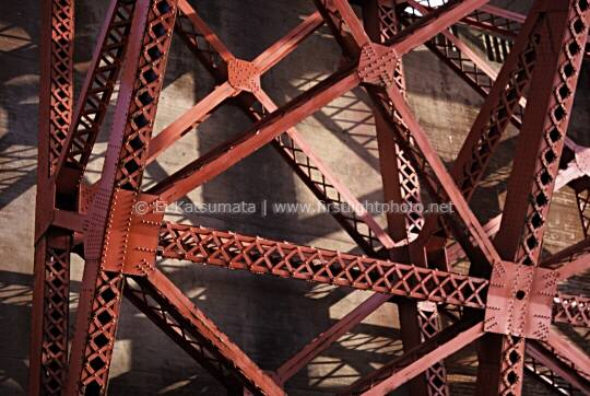 Structural detail of the Golden Gate  Bridges' arch, San Francisco, California