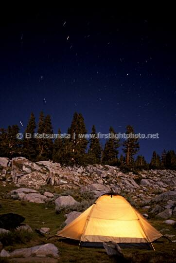 Campsite at Thousand Island Lake in the Ansel Adams Wilderness Area, California, United States of America