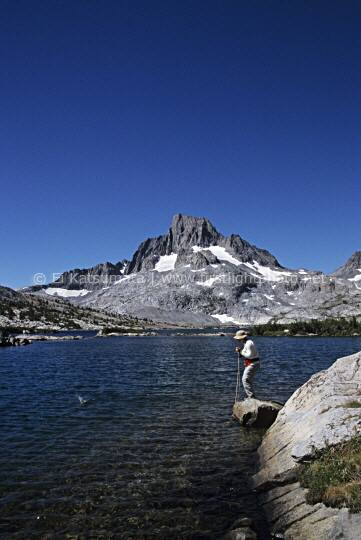 Flyfishing Garnet Lake below Mount Banner, Ansel Adams Wilderness Area, Sierra Nevada, California, United States of America.