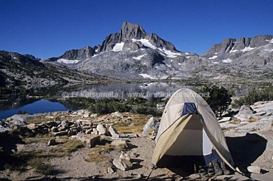 Campsite at Garnet Lake with Mount Banner Peak in the background in the Ansel Adams Wilderness Area, California, United States of America