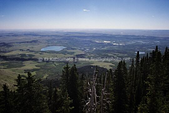 View of the Blackfeet Inidan Reservation from Heart Butte, borders the Lewis and Clark National Forest and the Blackfeet Indian Reservation. Heart Butte is located along the Rocky Mountain Front in the Badger-Two Medicine area of Montana United States of America.