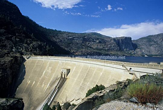 O'Shaughnessy Dam, which created Hetch Hetchy Reservoir in Yosemite National Park, California, United States of America