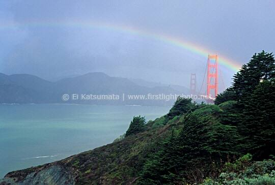 Rainbow over the Golden Gate Bridge after a clearing storm, San Francisco, California, United States of America