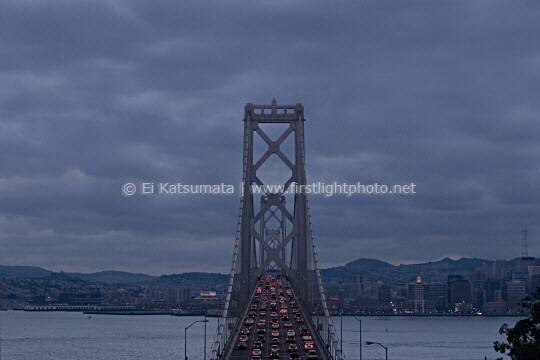 Traffic on the San Francisco-Oakland Bay Bridge on an overcast day