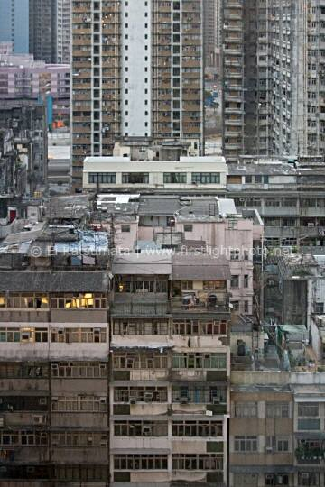 Apartment buildings in Mongkok, Kowloon, Hong Kong, Asia