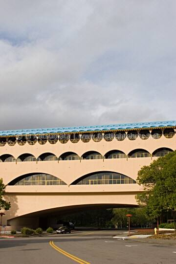 The Marin County Civic Center is located in the city of San Rafael and was designed by architect Frank Lloyd Wright and was built in 1957. San Rafael, Marin County, California, United States of America.