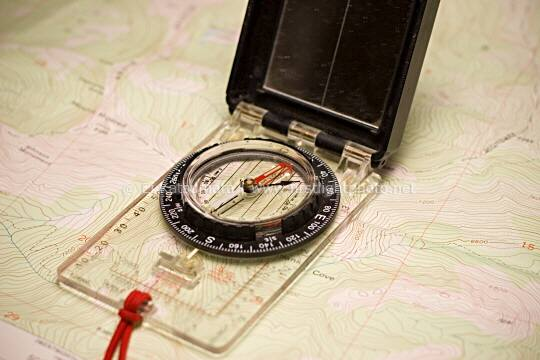 A compass and USGS topographic map