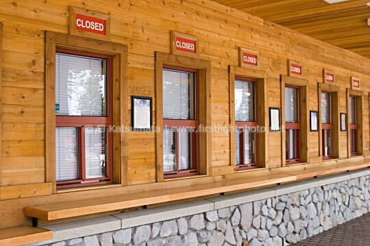 A row of ticketing windows that are all closed at Heavenly Valley in South Lake Tahoe, California