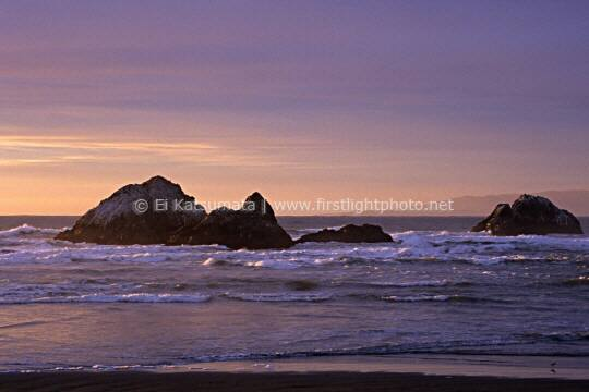 Seal Rocks during sunset, Ocean Beach, San Francisco, California, United States of America