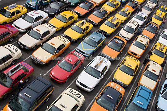 Taxis in the queue at San Francisco International Airport (top view), California, United States of America.