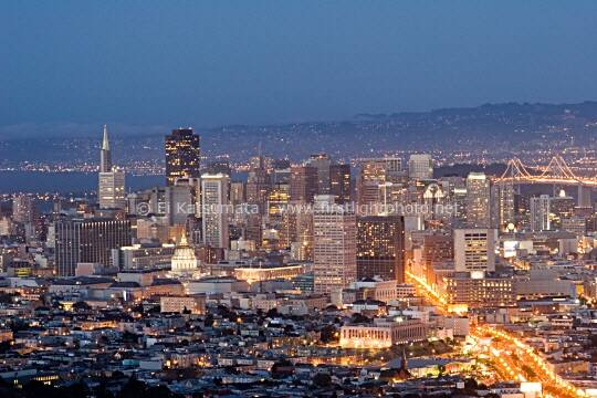 Skyline of San Francisco at night as seen from Twin Peaks, San Francisco, California, United States of America