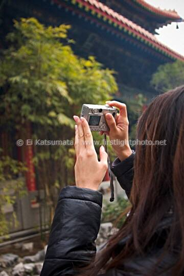 A young woman composing a photograph with her digital camera at Sik Sik Yuen Wong Tai Sin Temple in Kowloon, Hong Kong, China, Asia