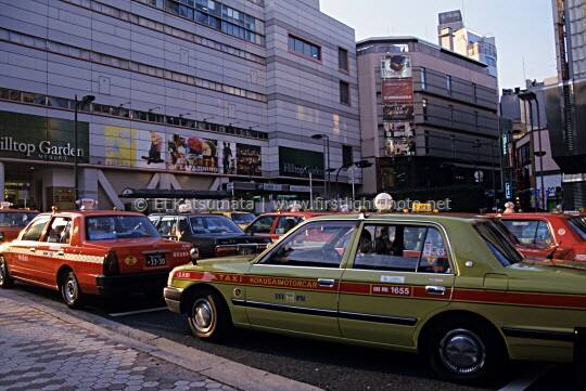 Taxis queued up at JR Meguro Station in Tokyo, Japan, Asia