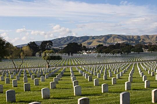 Golden Gate National Cemetery with San Bruno Mountain in the background, California, United States of  America