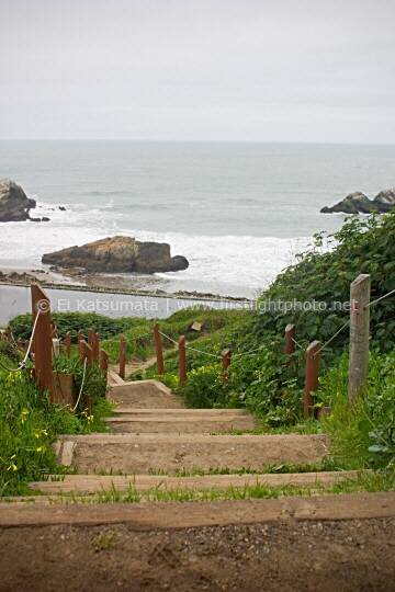 Stairs leading down to the ruins of Sutro Bath, Golden Gate National Recreation Area, San Francisco, California