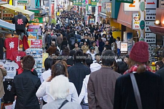 Crowds of fashionable shoppers on Takeshita-dori in the Harajuku district of Tokyo, Japan, Asia