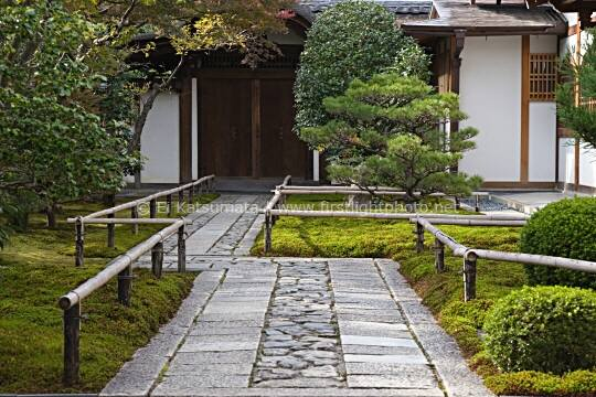 The stone path at the entrance of Korin-in garden, which is a subtemple of Daitokuji Temple, Kyoto, Kansai Region, Japan