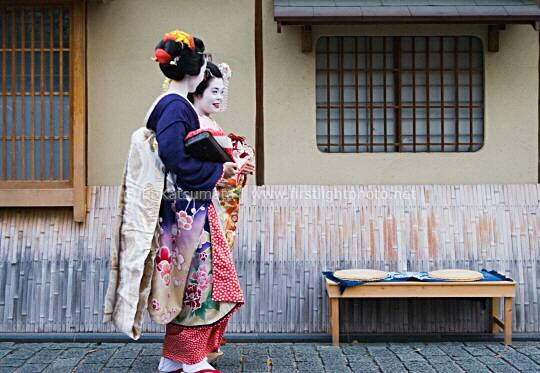 Maiko walking in the Higashiyama district of Kyoto, Kansai Region, Japan