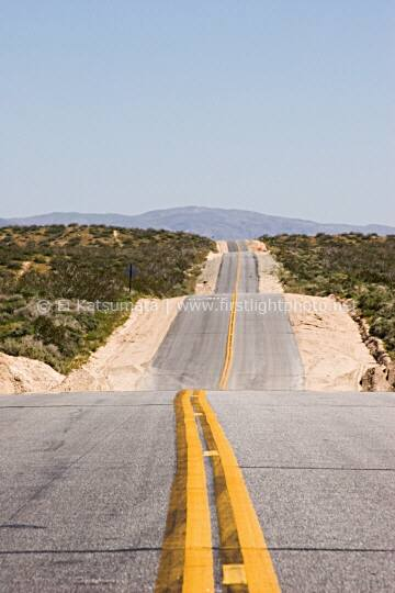 Looking north on Redrock Randsburg Road off of Highway 14 in Kern County, California, United States of America