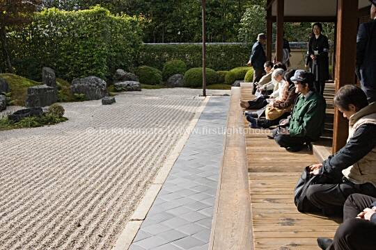Visitors enjoy the zen rock garden at Korin-in, which is a subtemple of Daitokuji Temple, Kyoto, Kansai Region, Japan