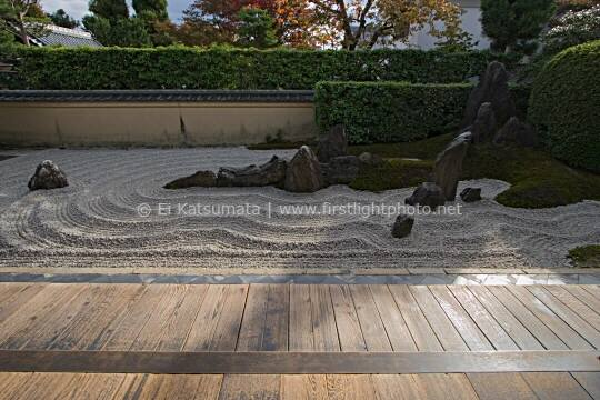 The zen rock garden at Zuiho-in, which is a subtemple of Daitokuji Temple in Kyoto, Kansai Region, Japan