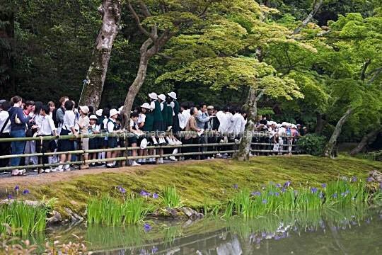Crowds of visitors at Kinkakuji, known as the Golden Pavilion in English, Kyoto, Kansai Region, Japan