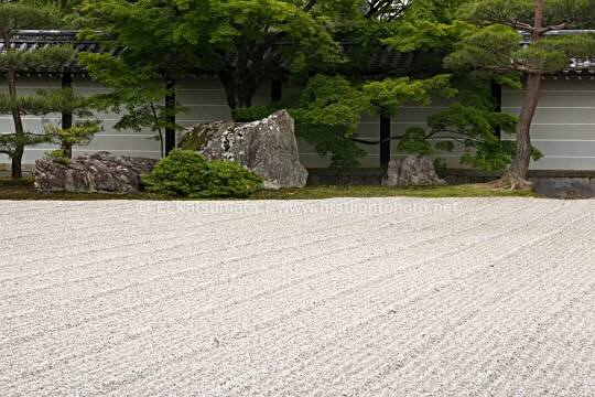 Zen rock garden at Ninna-ji Temple, Kyoto, Kansai Region, Japan