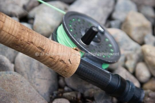 Flyfishing rod and reel detail, Little Truckee River, California