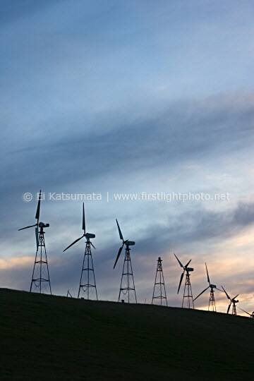 Windmills at Altamont Pass Wind Resource Area in Alameda County, California