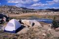 A campsite on the slopes above Middle Emigrant Lake in the Emigrant Wilderness Area, California, United States of America